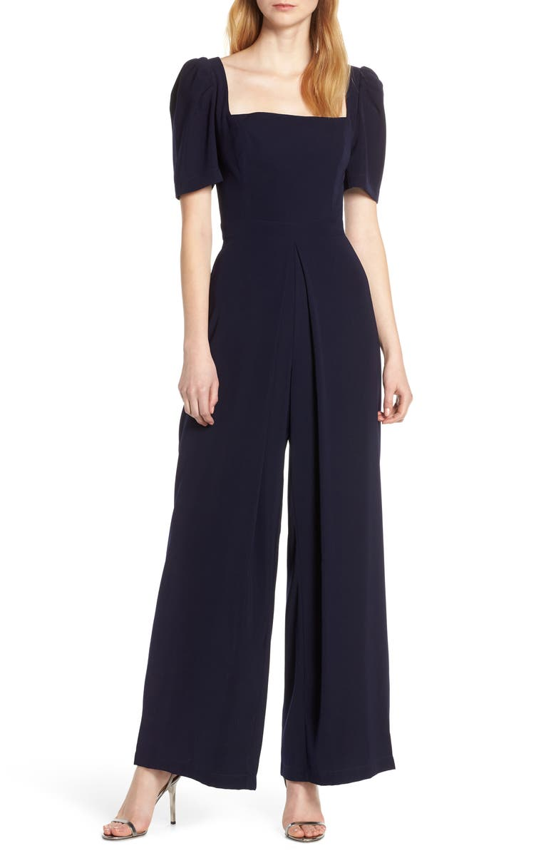 HARLYN Square Neck Puff Sleeve Jumpsuit, Main, color, 410