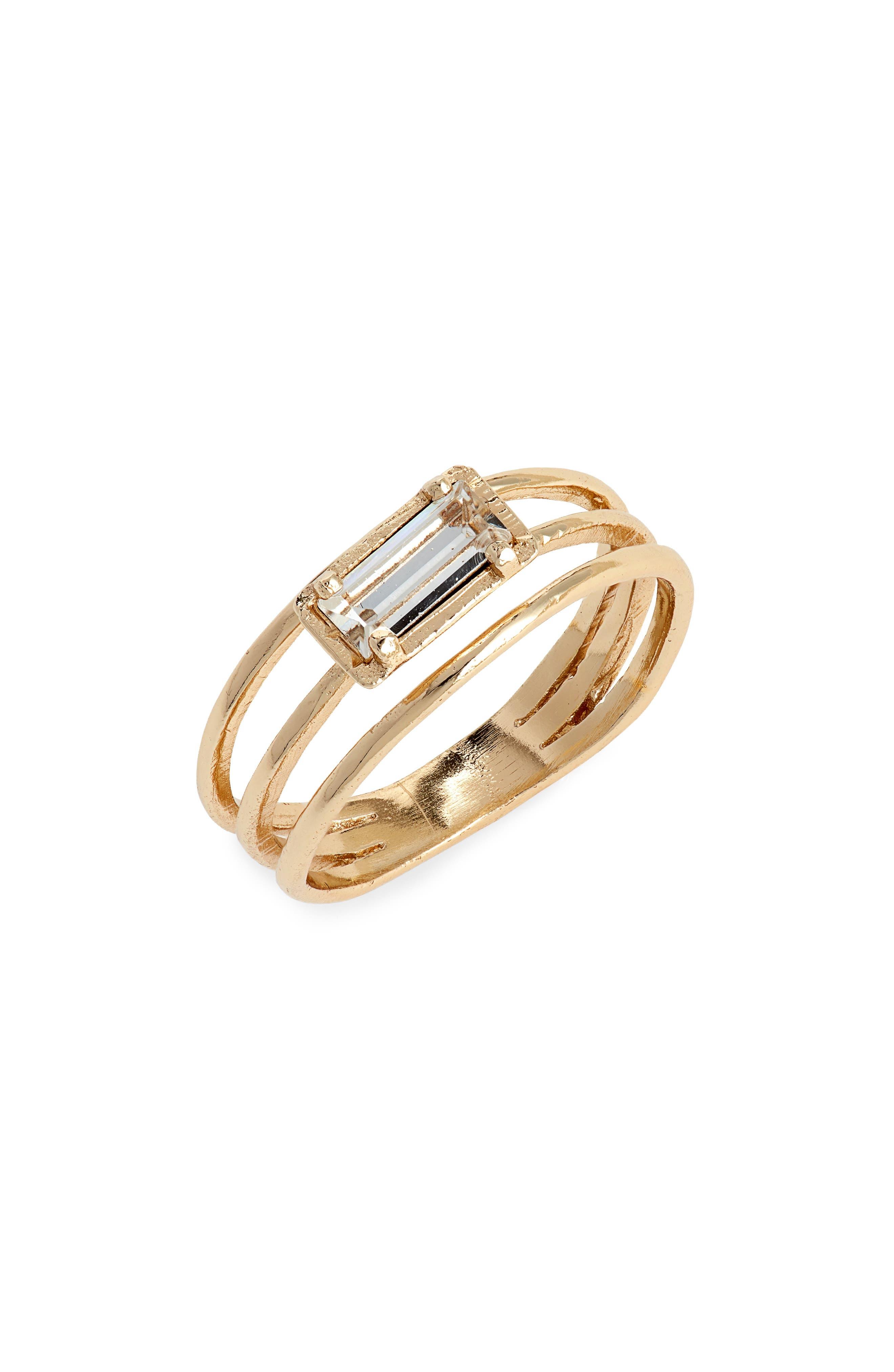 Baguette Crystal Stack Ring