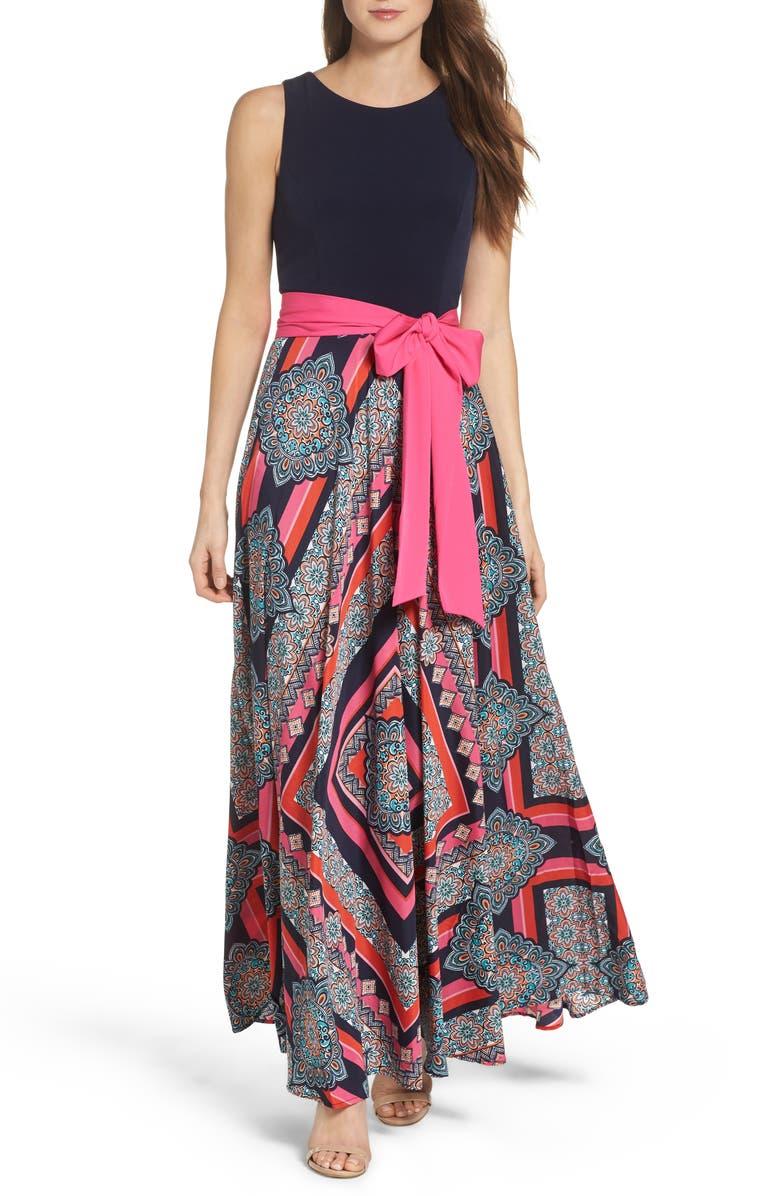 ELIZA J Jersey & Crêpe de Chine Maxi Dress, Main, color, 698