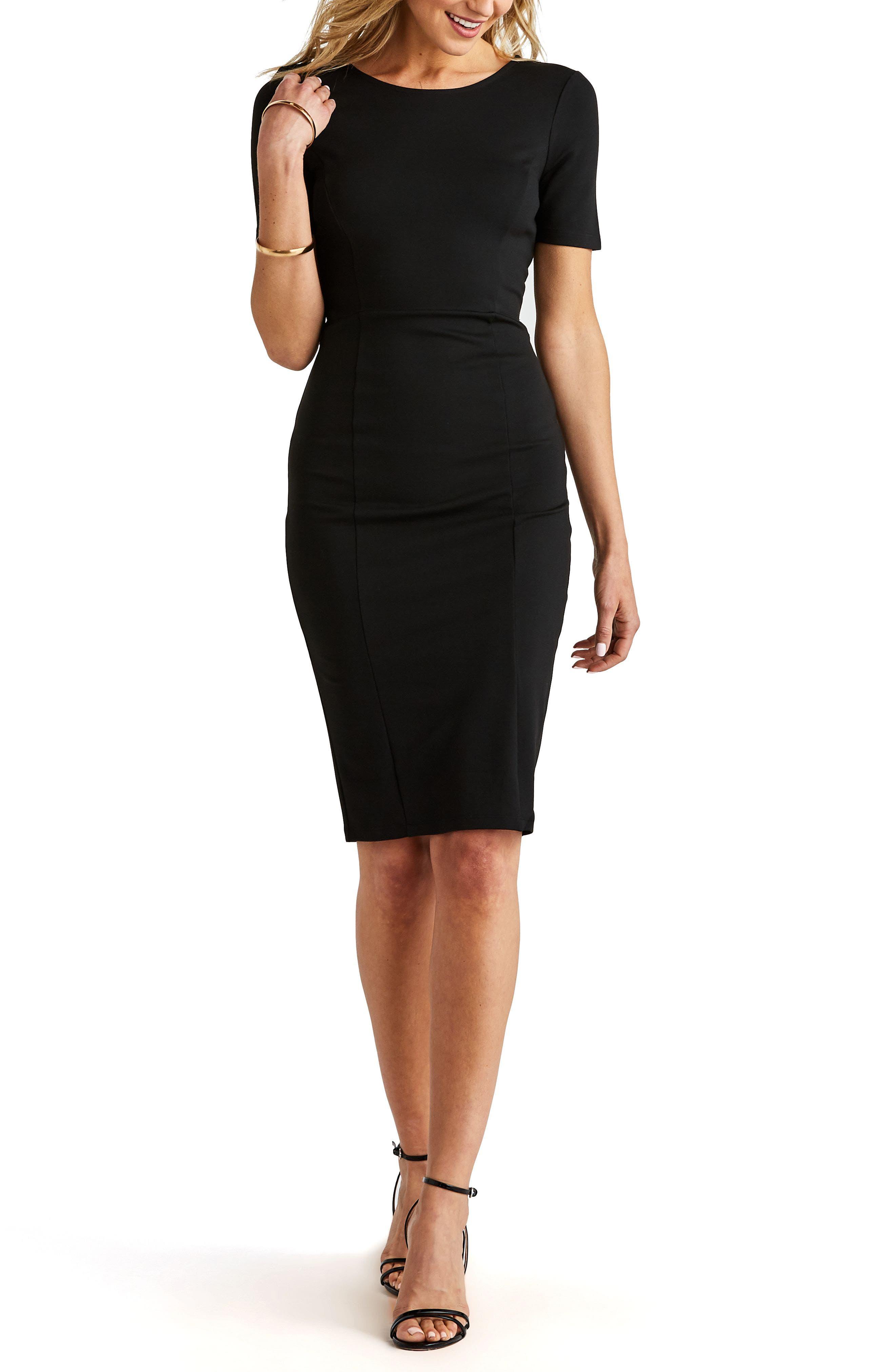 ,                             Zip Back Sheath Dress,                             Alternate thumbnail 2, color,                             BLACK