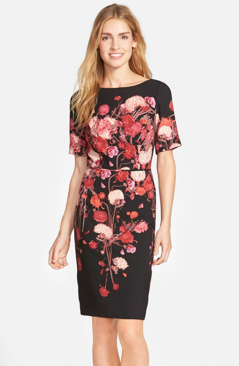 ADRIANNA PAPELL Placed Floral Print Crepe Sheath Dress, Main, color, 015