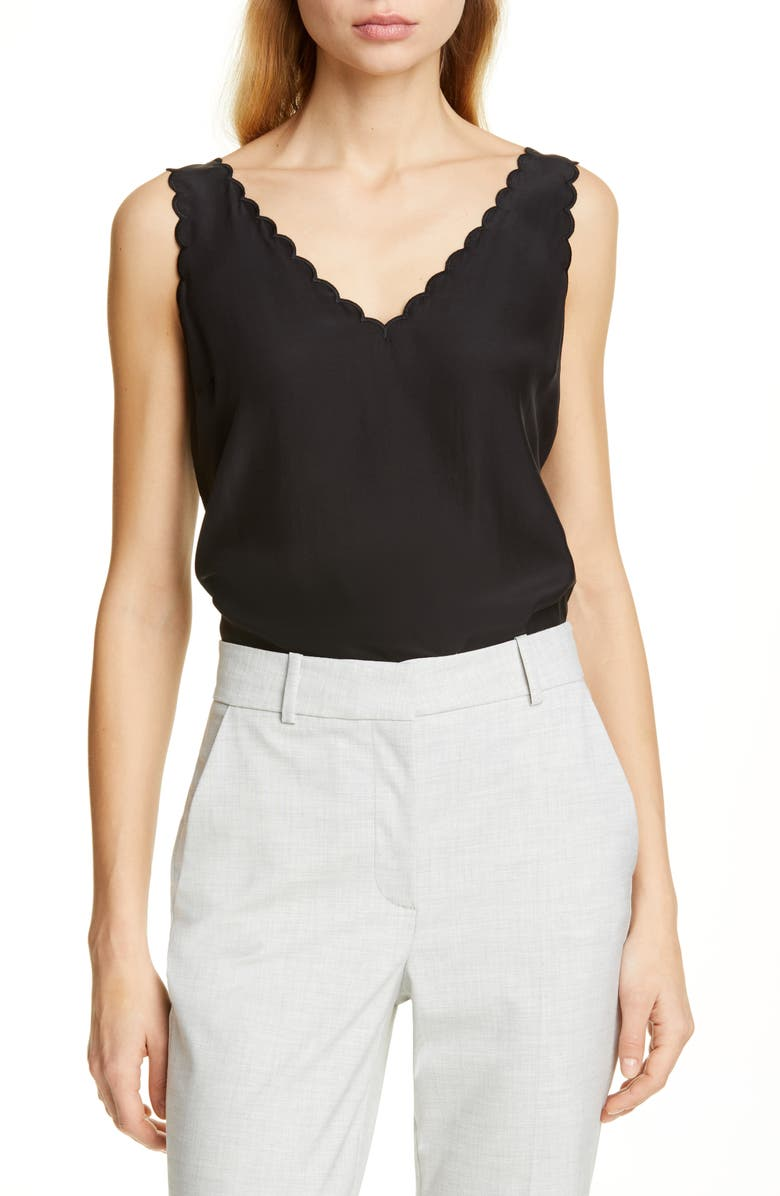 TAILORED BY REBECCA TAYLOR Scallop Detail Silk Charmeuse Tank Top, Main, color, BLACK
