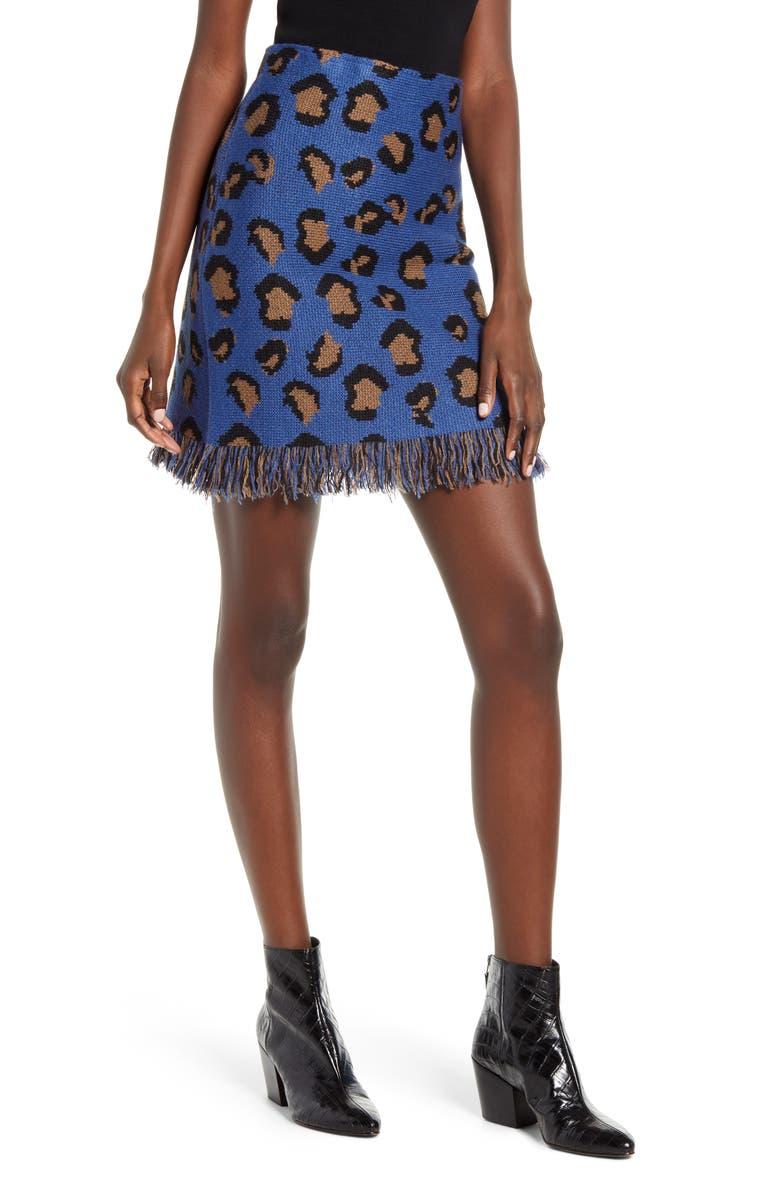 MOON RIVER Fringe Hem Leopard Jacquard Miniskirt, Main, color, 400