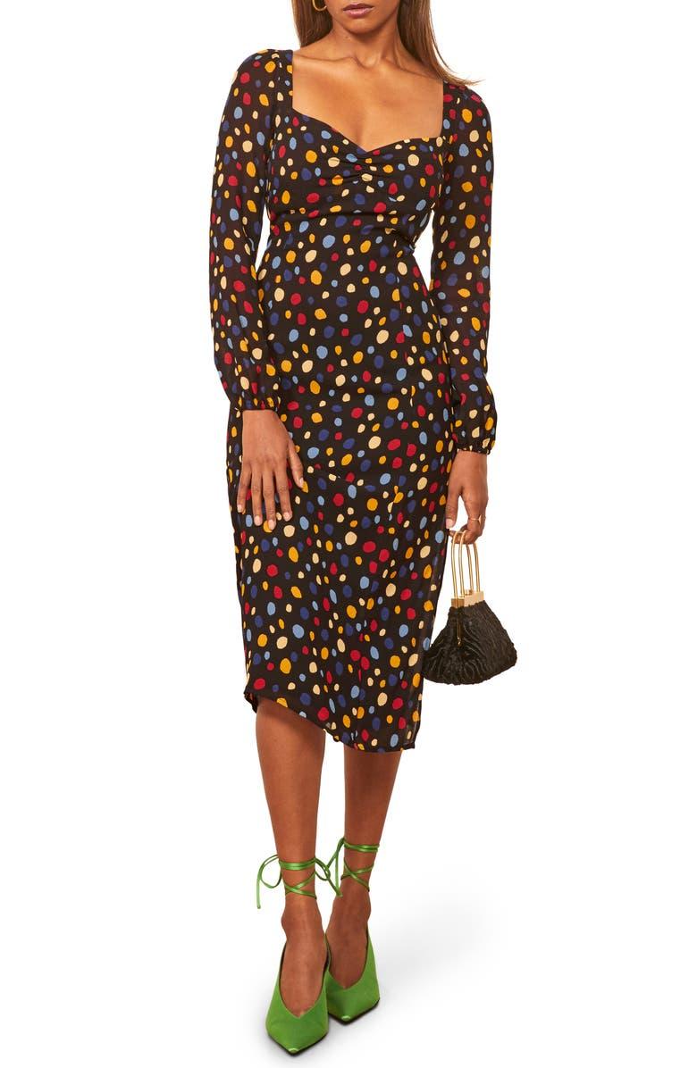 REFORMATION Mabille Long Sleeve Midi Dress, Main, color, FIESTA
