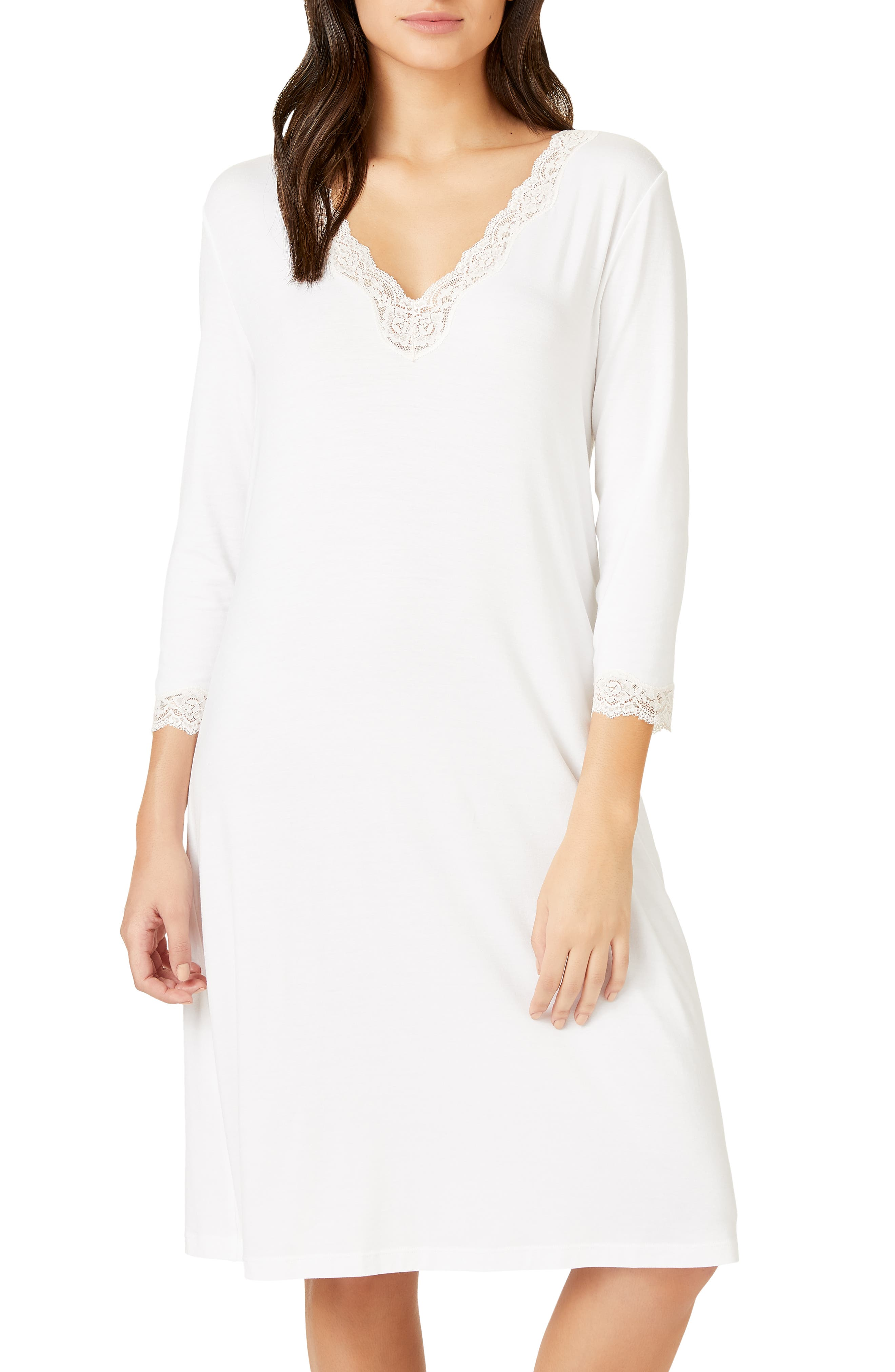 The White Company Lace Trim Short Nightgown, Ivory