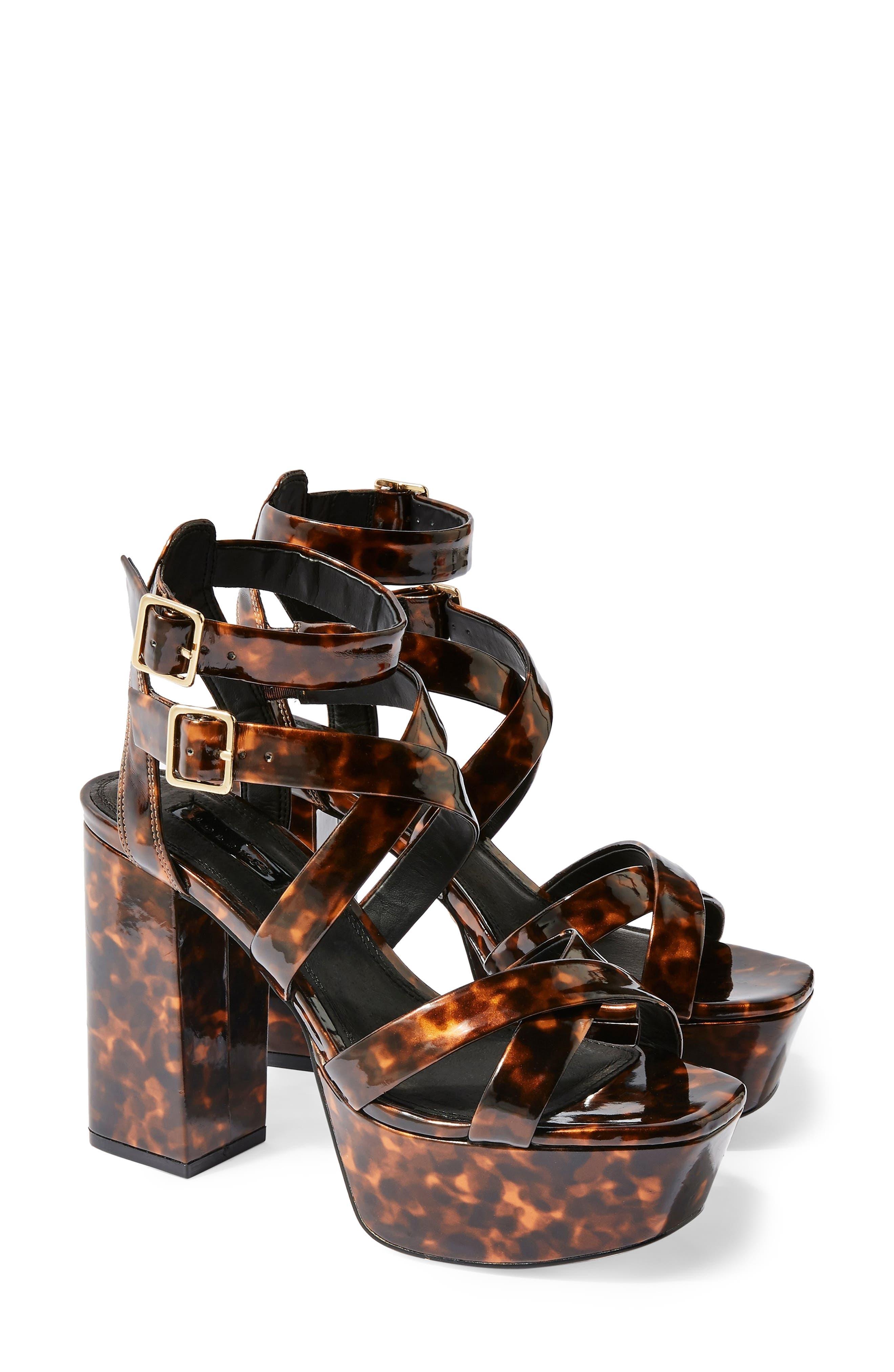 ,                             Radical Strappy Platform Sandal,                             Main thumbnail 1, color,                             BROWN MULTI