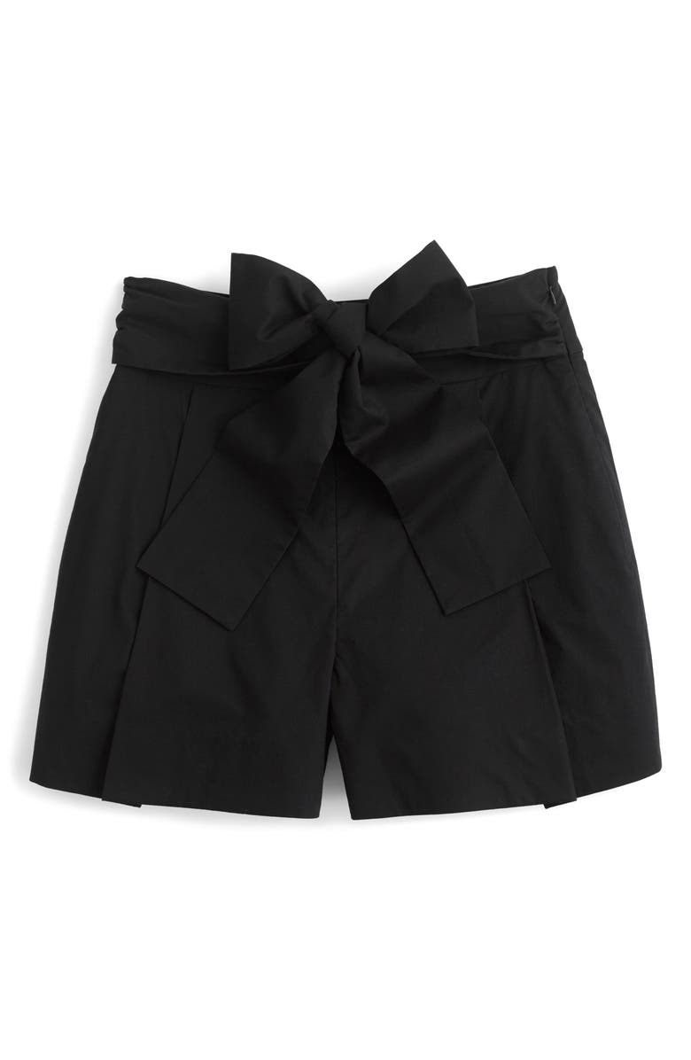 J.CREW Cotton Poplin Tie Waist Shorts, Main, color, 001