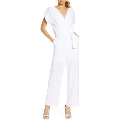 Fraiche By J Belted Jumpsuit, White
