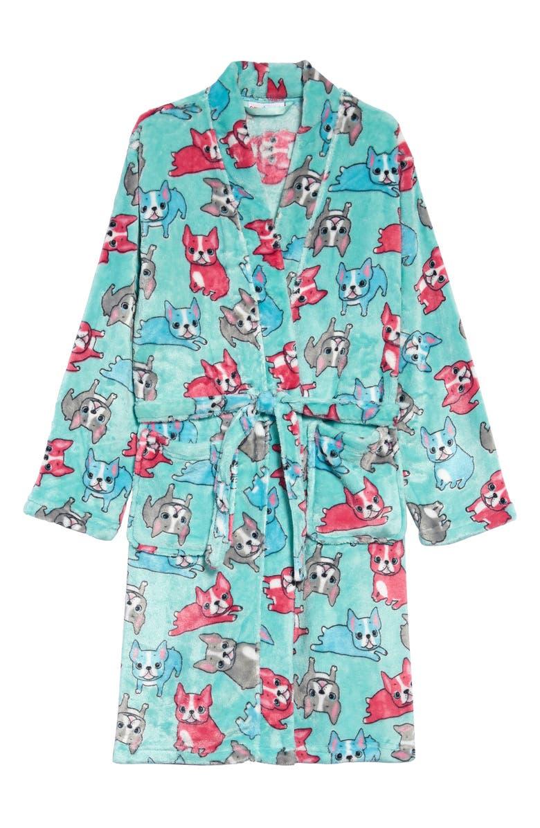 CANDY PINK French Bulldog Fleece Robe, Main, color, AQUA