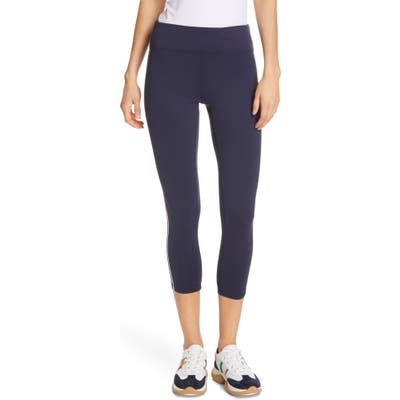 Tory Sport Retro Stripe 7/8 Leggings, Blue