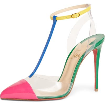 Christian Louboutin Nosy Clear T-Strap Pump, Pink