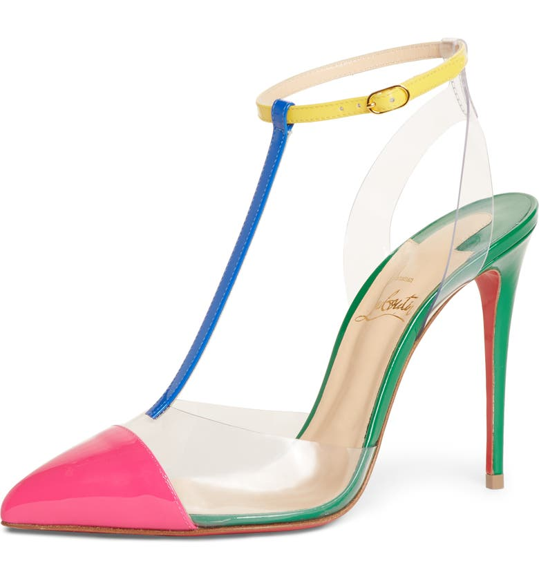 CHRISTIAN LOUBOUTIN Nosy Clear T-Strap Pump, Main, color, PINK/ YELLOW/ GREEN