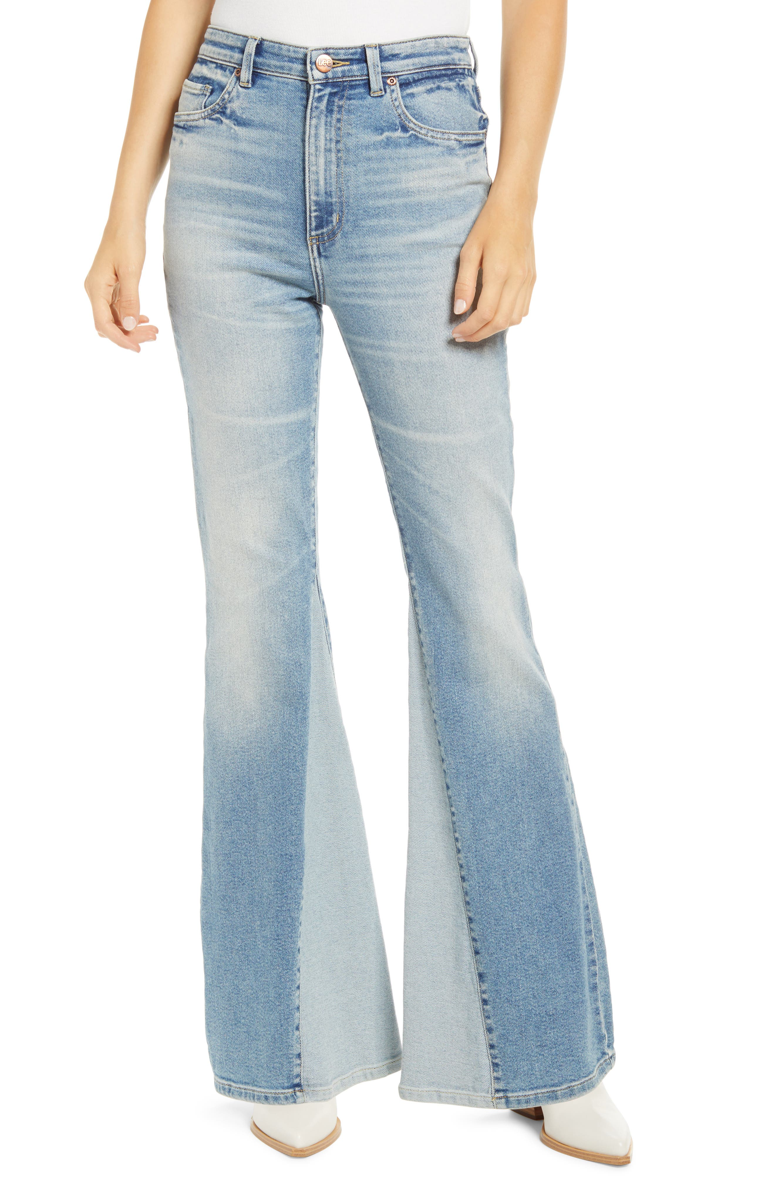 60s – 70s Pants, Jeans, Hippie, Bell Bottoms, Jumpsuits Womens Lee Inseam Panel High Waist Flare Jeans $108.00 AT vintagedancer.com