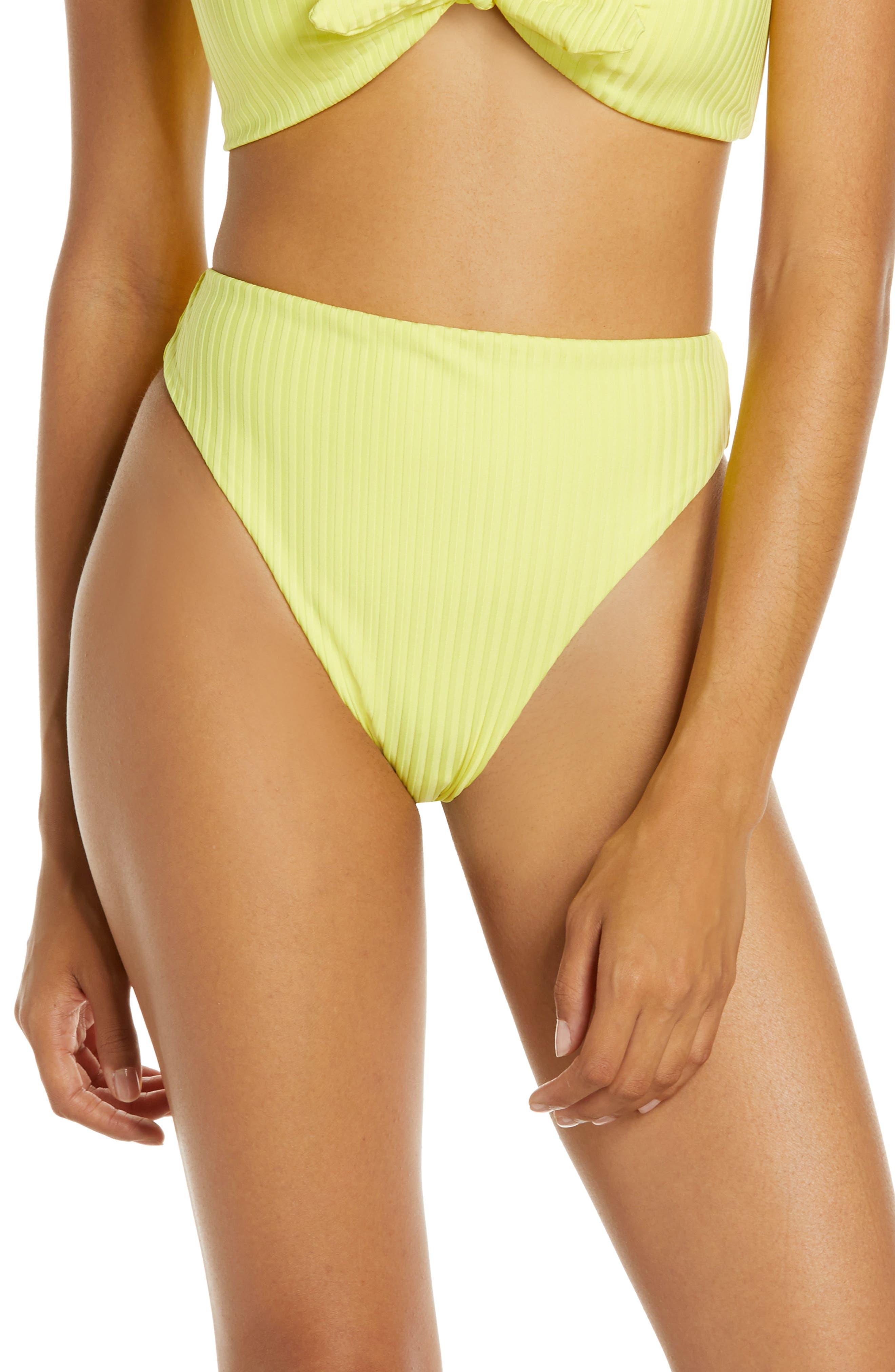 Dolce Vita High Waist High Leg Bikini Bottoms, Yellow