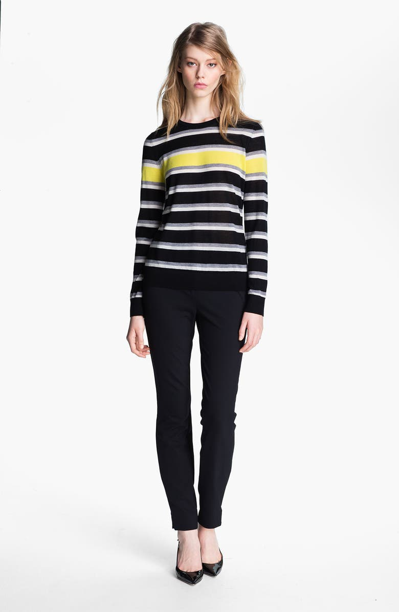 MISS WU 'Sofie' Stripe Cashmere Sweater, Main, color, 001