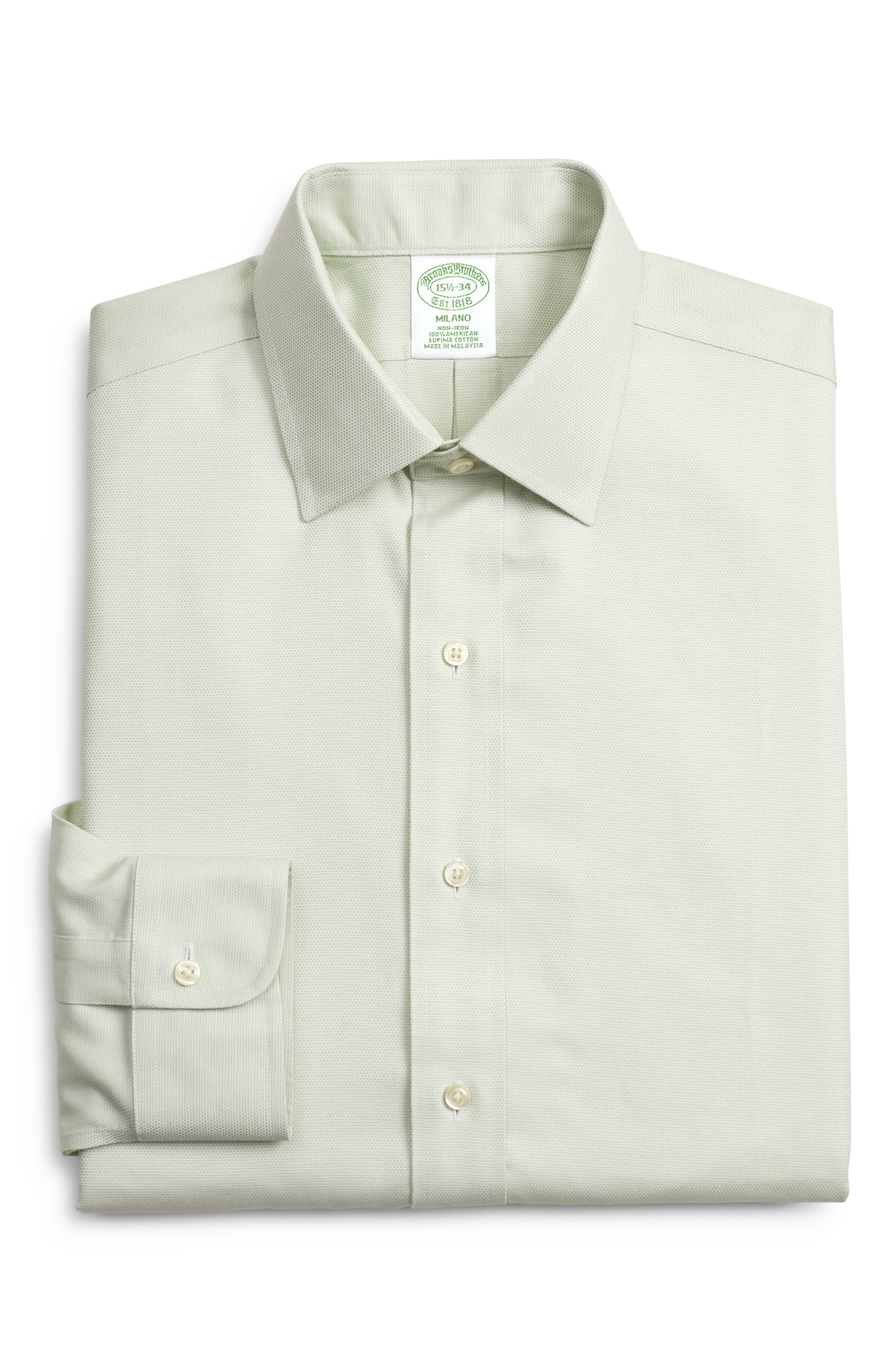 Milano Slim Fit Print Dress Shirt, Main, color, GREEN