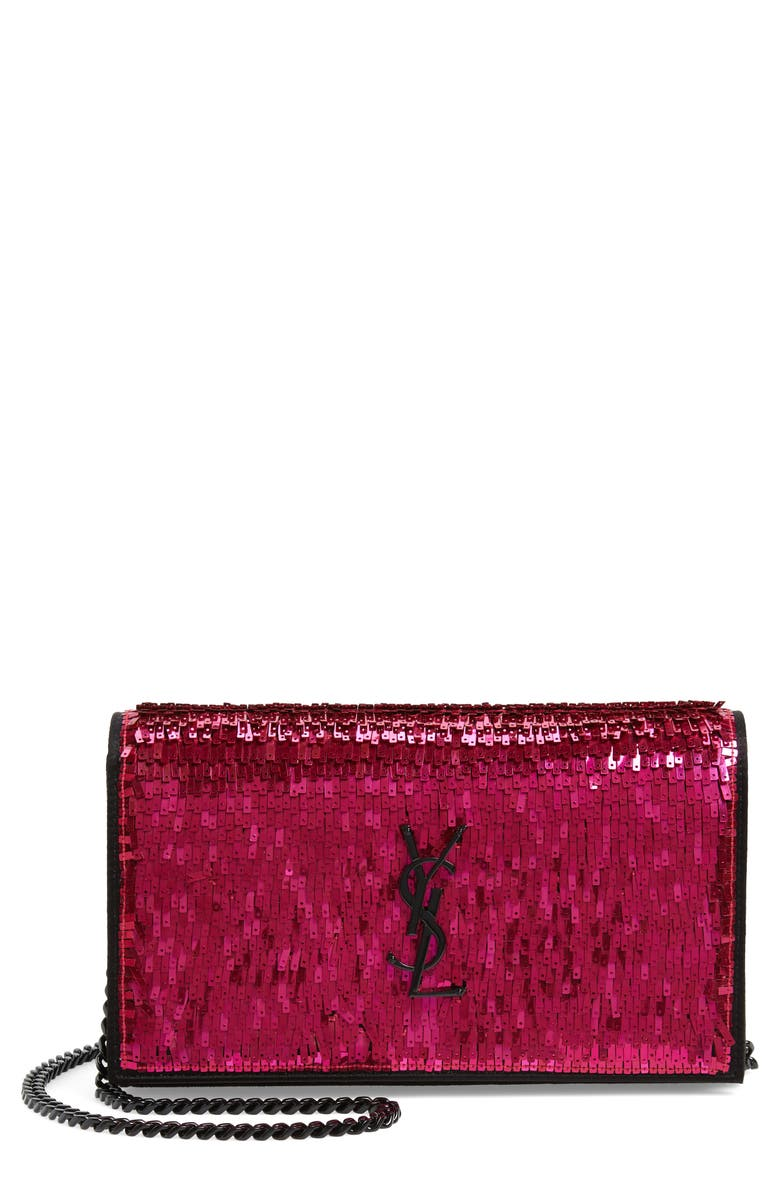 SAINT LAURENT Kate Embellished Wallet on a Chain, Main, color, FUSHIA/ NOIR