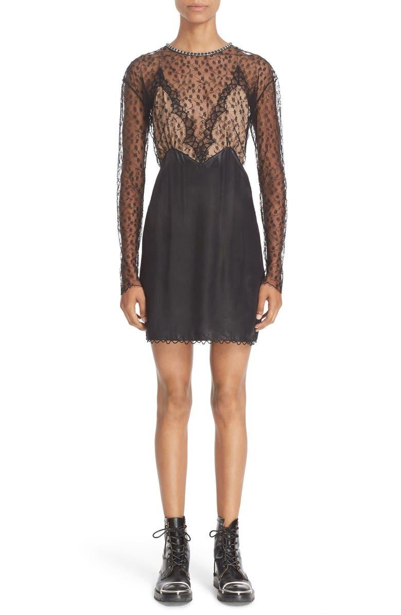 ALEXANDER WANG Long Sleeve Illusion Lace Dress, Main, color, 001