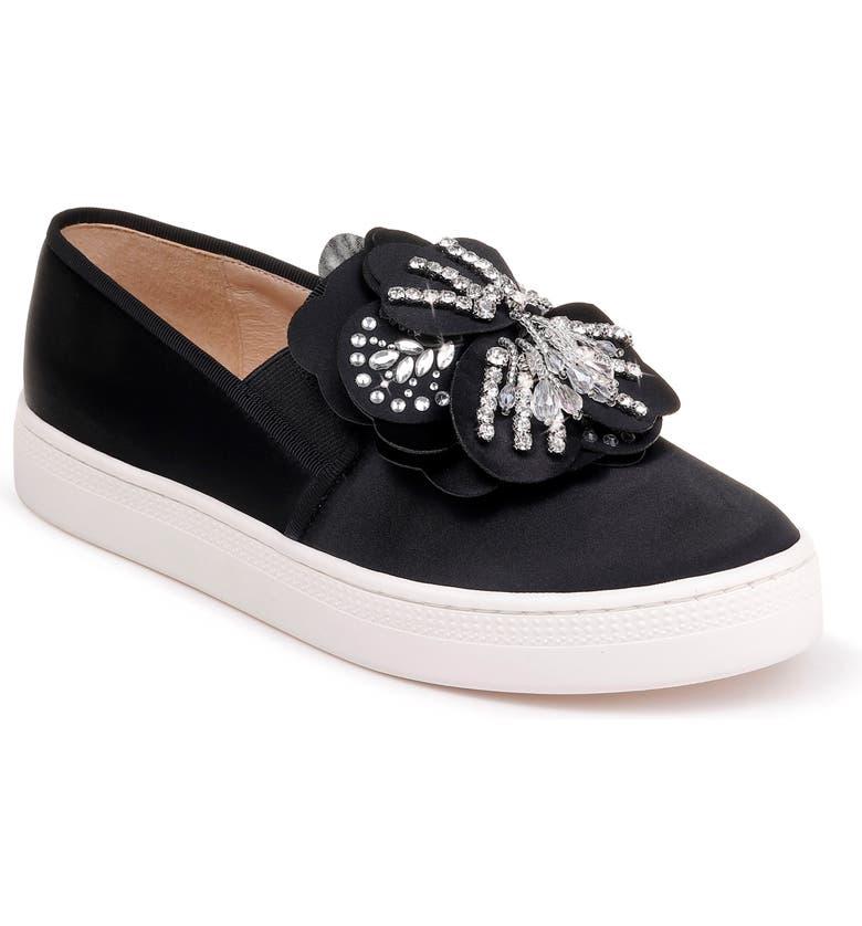 BADGLEY MISCHKA COLLECTION Badgley Mischka Izzy Embellished Slip-On Sneaker, Main, color, BLACK SATIN