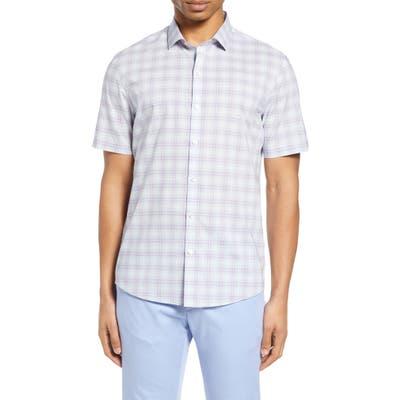 Zachary Prell Laube Classic Fit Check Short Sleeve Button-Down Shirt, Purple