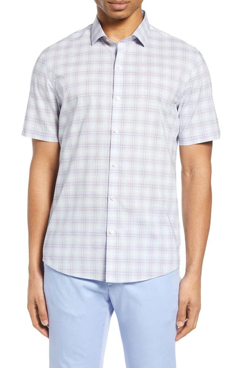 ZACHARY PRELL Laube Classic Fit Check Short Sleeve Button-Down Shirt, Main, color, LIGHT PURPLE