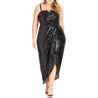 Plus Size City Chic Siren Convertible Strap Sequin Faux Wrap Gown, Black
