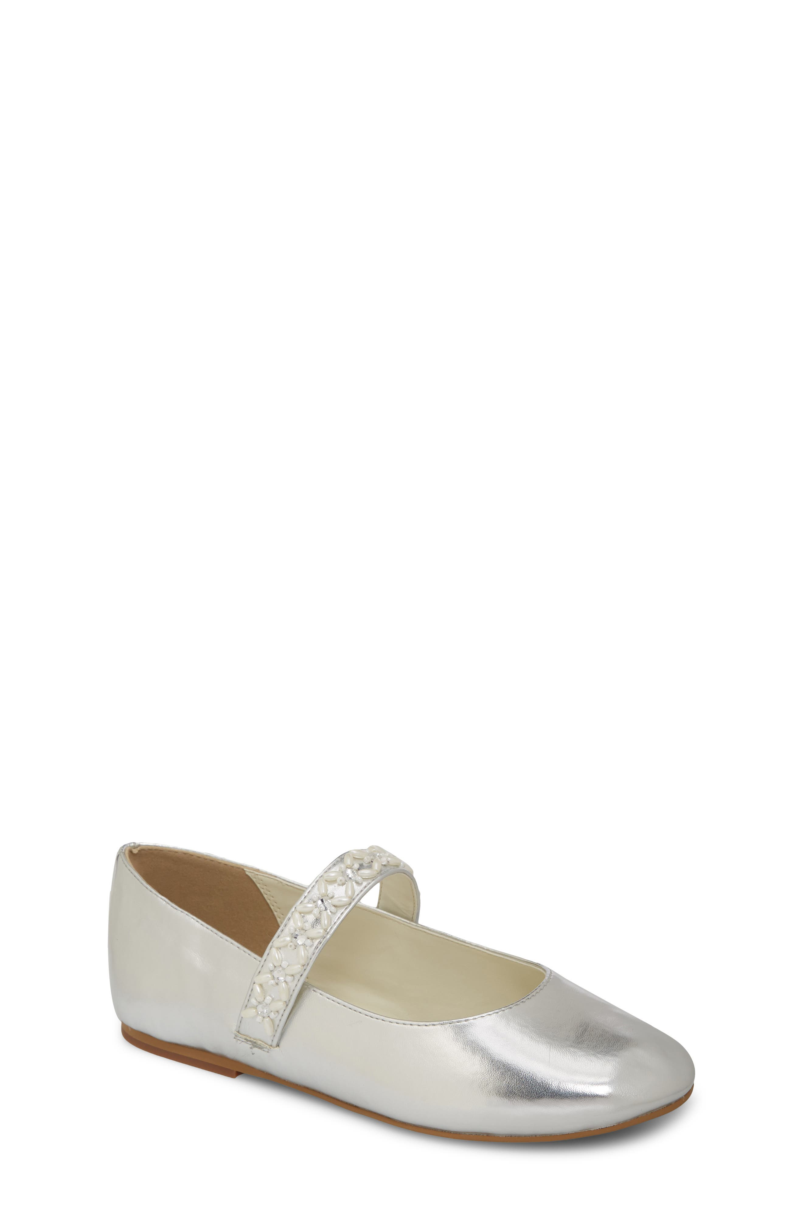 Naomi Embellished Mary Jane, Main, color, SILVER FAUX LEATHER