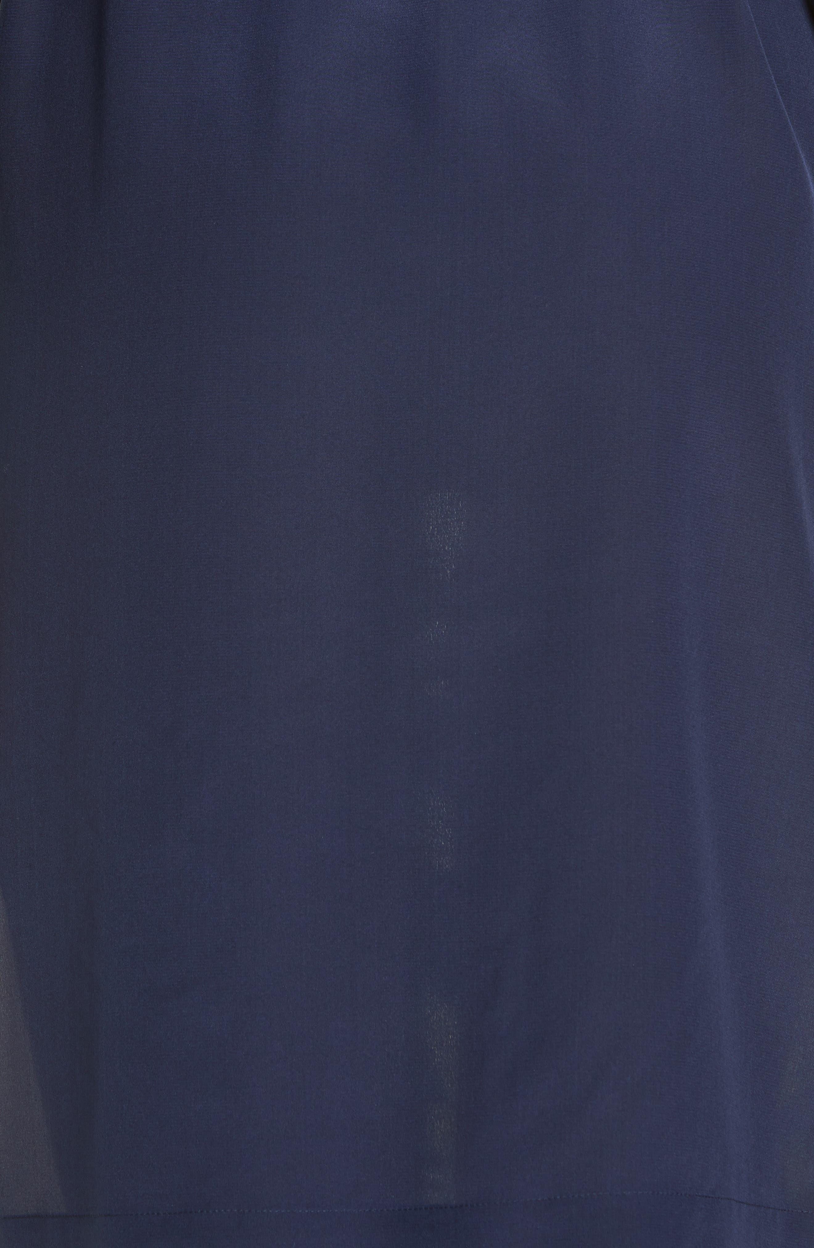 ,                             Silk Patchwork Long Sleeve Dress,                             Alternate thumbnail 5, color,                             NAVY POPPIES BLOOM