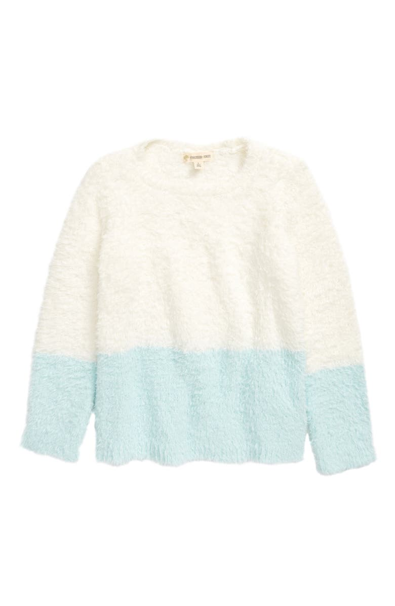 TUCKER + TATE Color Block Cuddle Sweater, Main, color, IVORY EGRET- BLUE