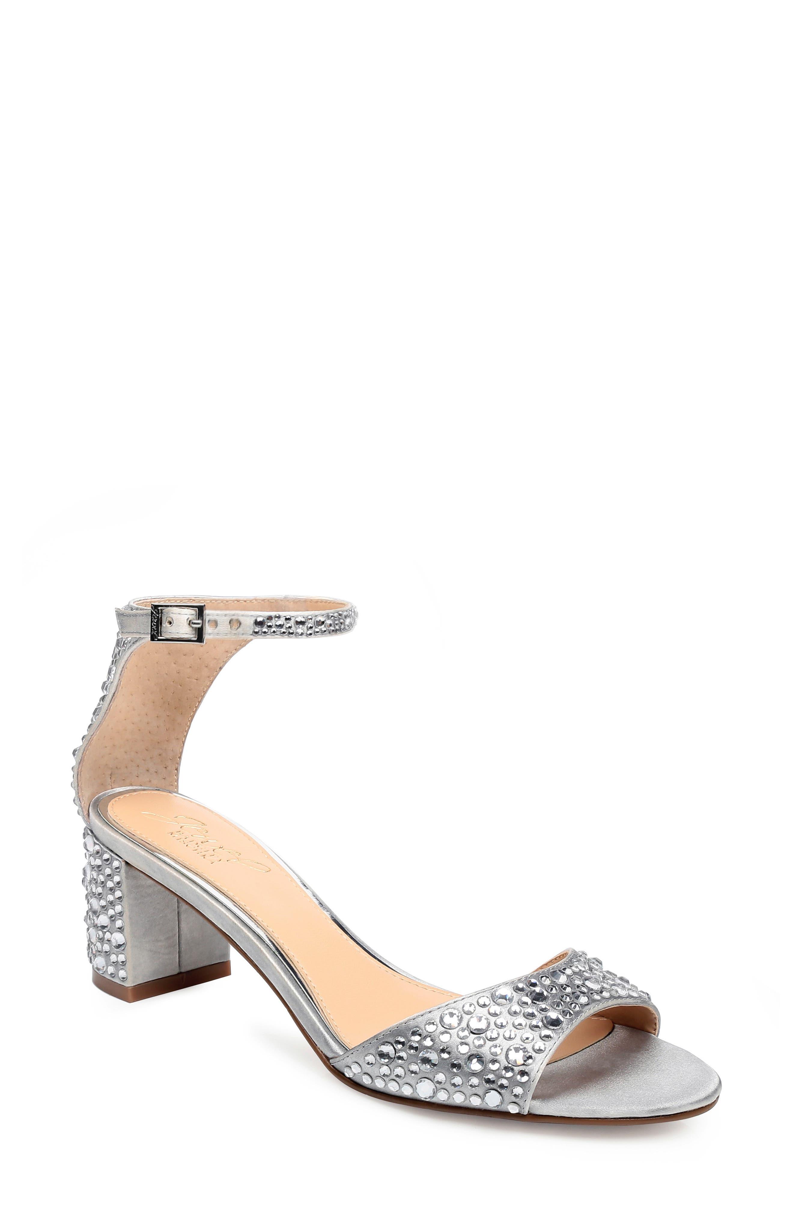 ,                             Crystal Block Heel Sandal,                             Main thumbnail 1, color,                             SILVER CRYSTAL SATIN