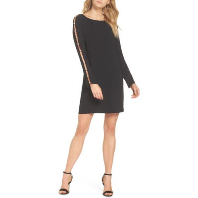 Forest Lily Beaded Sleeve Shift Dress, Black