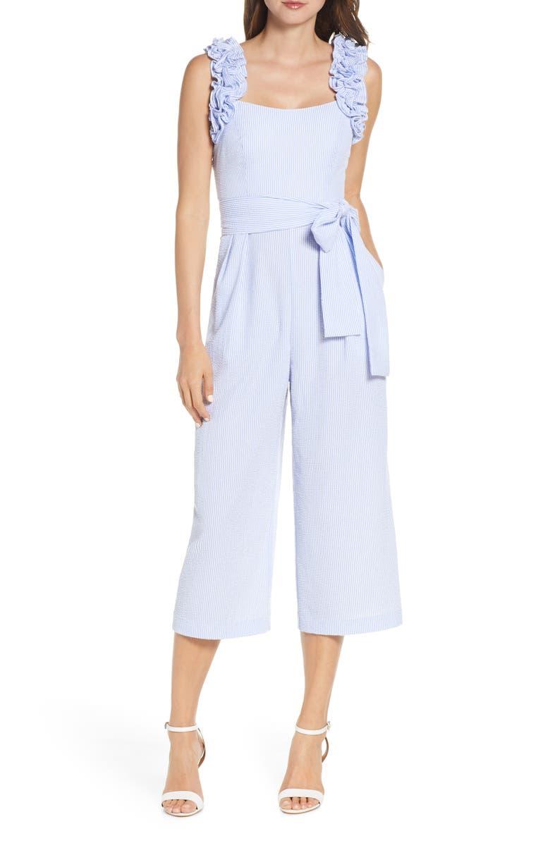 ELIZA J Ruffle Strap Seersucker Jumpsuit, Main, color, BLUE/ WHITE