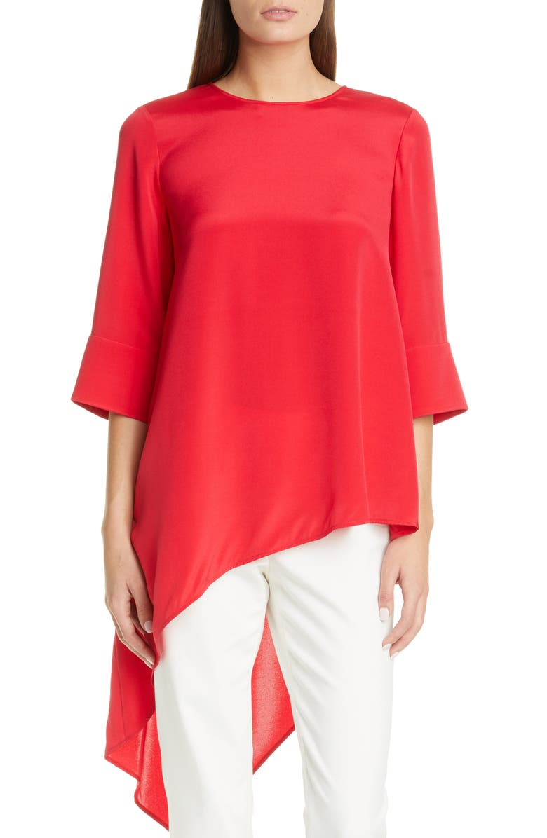 ST. JOHN COLLECTION Asymmetrical Silk Crêpe de Chine Top, Main, color, POPPY