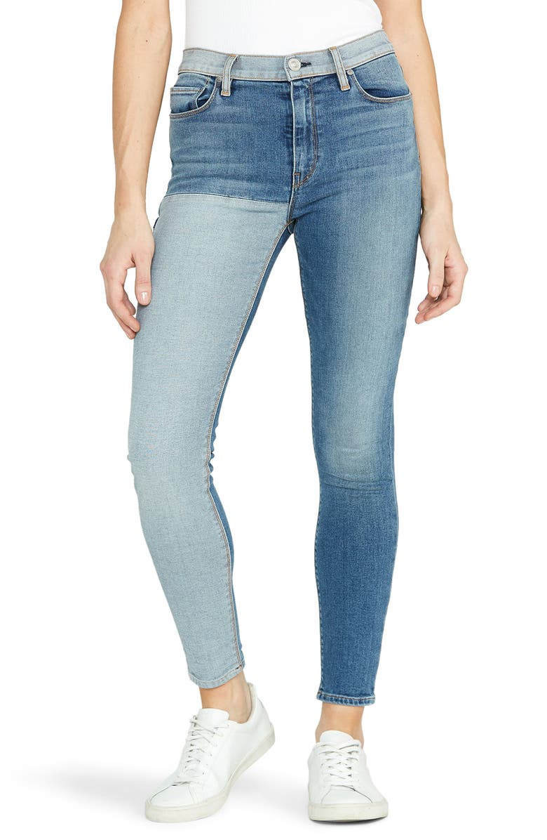 HUDSON JEANS Barbara High Waist Colorblock Skinny Jeans, Main, color, INVERTED INDIGO
