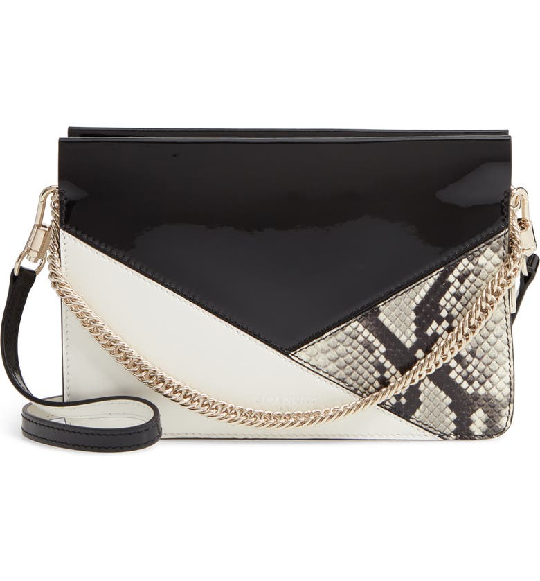 GIVENCHY Cross 3 Leather Crossbody Bag, Main, color, BLACK/ WHITE