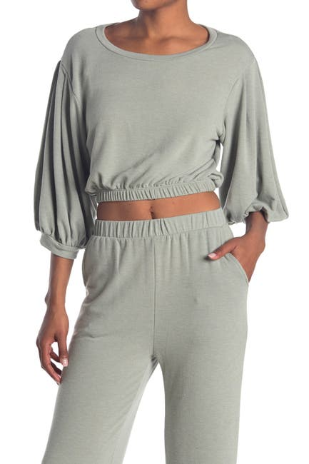 Image of Know One Cares Terry Puff Sleeve Top