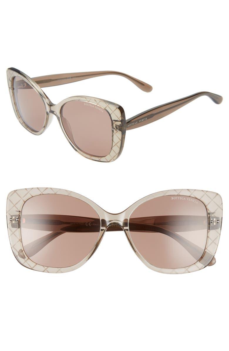 BOTTEGA VENETA 53mm Cat Eye Sunglasses, Main, color, BROWN/ BROWN