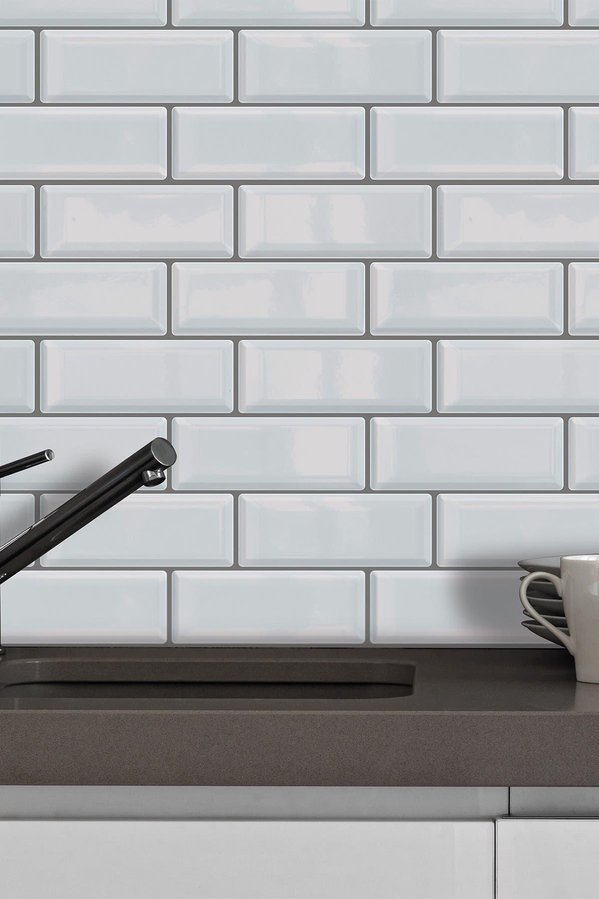 Image of WalPlus White Metro Glossy Sticker Tiles Premium Wall Splashbacks Mosaics