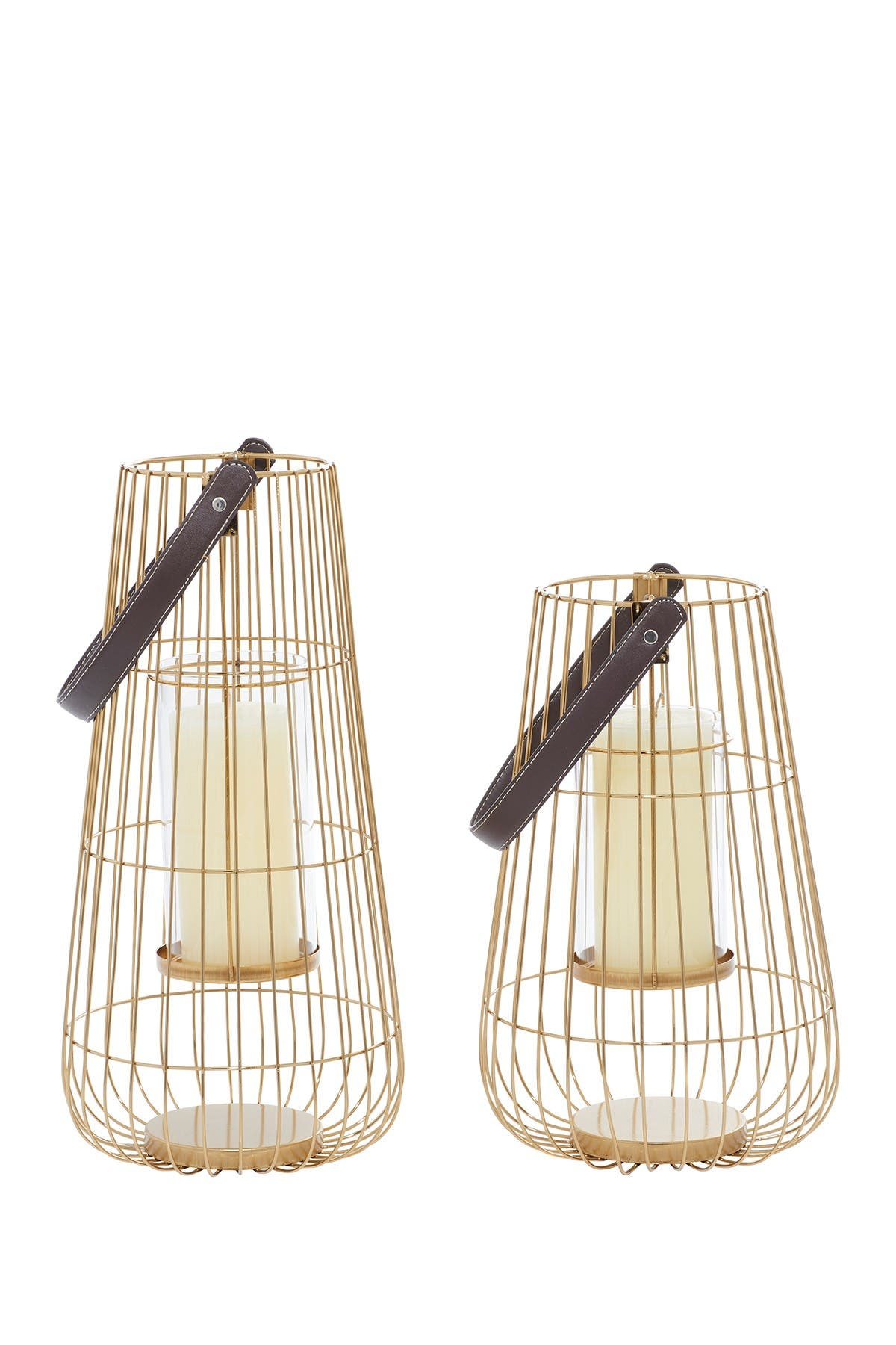 Image of Willow Row Gold Metal Contemporary Lantern 2-Piece Set