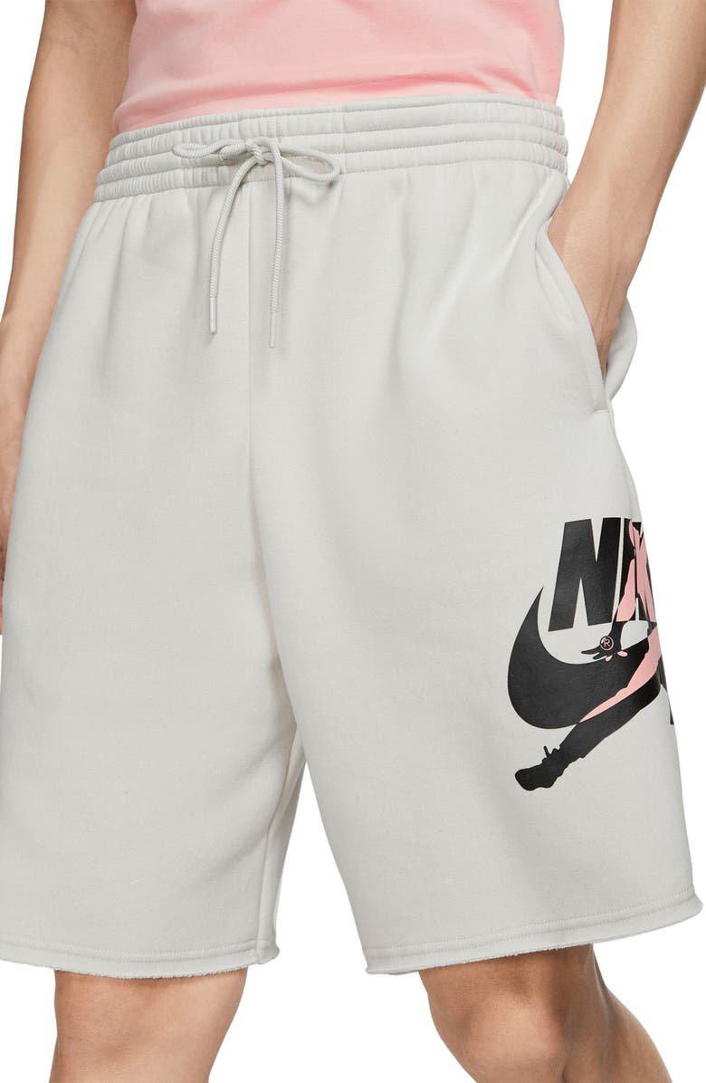 JORDAN Jumpman Classics Athletic Shorts, Main, color, LIGHT BONE/ BLACK/ CORAL