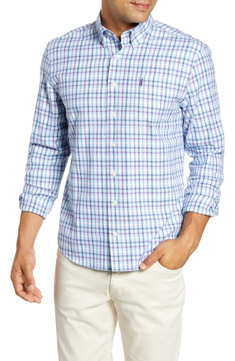JOHNNIE-O Clay Classic Fit Plaid Button-Down Sport Shirt, Main, color, PASSION FRUIT