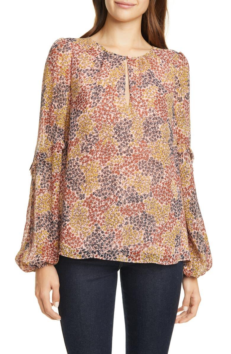 JOIE Baltasar Floral Long Sleeve Silk Georgette Blouse, Main, color, 680