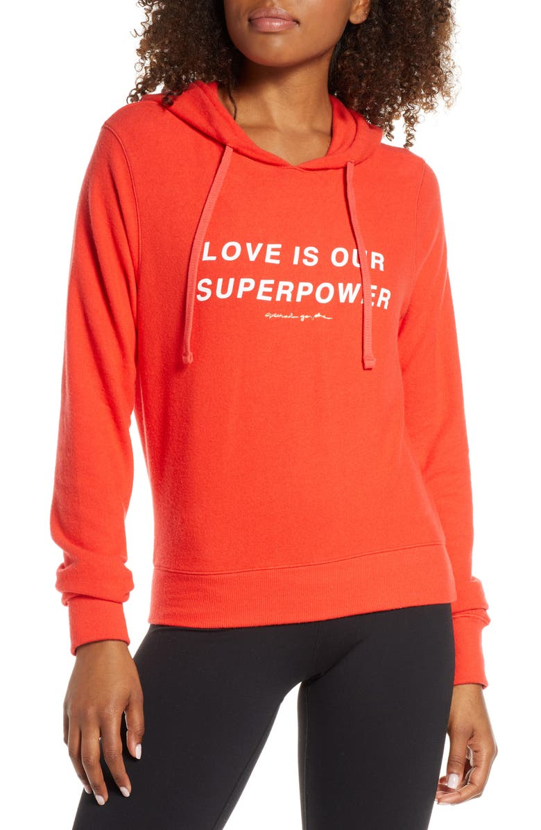 SPIRITUAL GANGSTER Superpower Graphic Hoodie, Main, color, TULIP