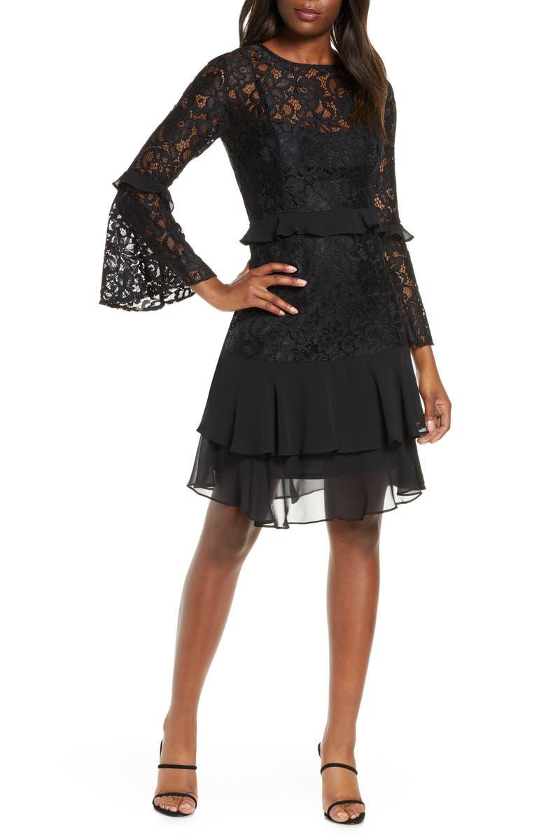 TAYLOR DRESSES Long Sleeve Chiffon Trim Lace Dress, Main, color, BLACK