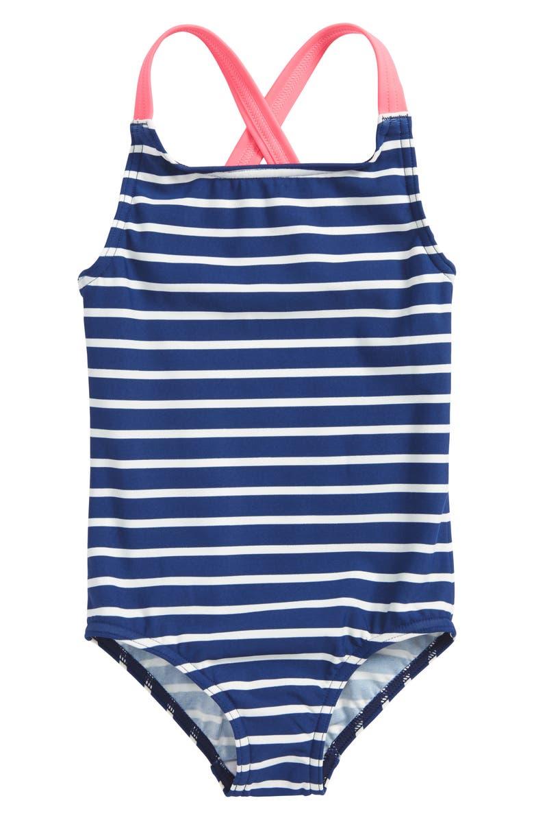 MINI BODEN Cross Back One-Piece Swimsuit, Main, color, 404