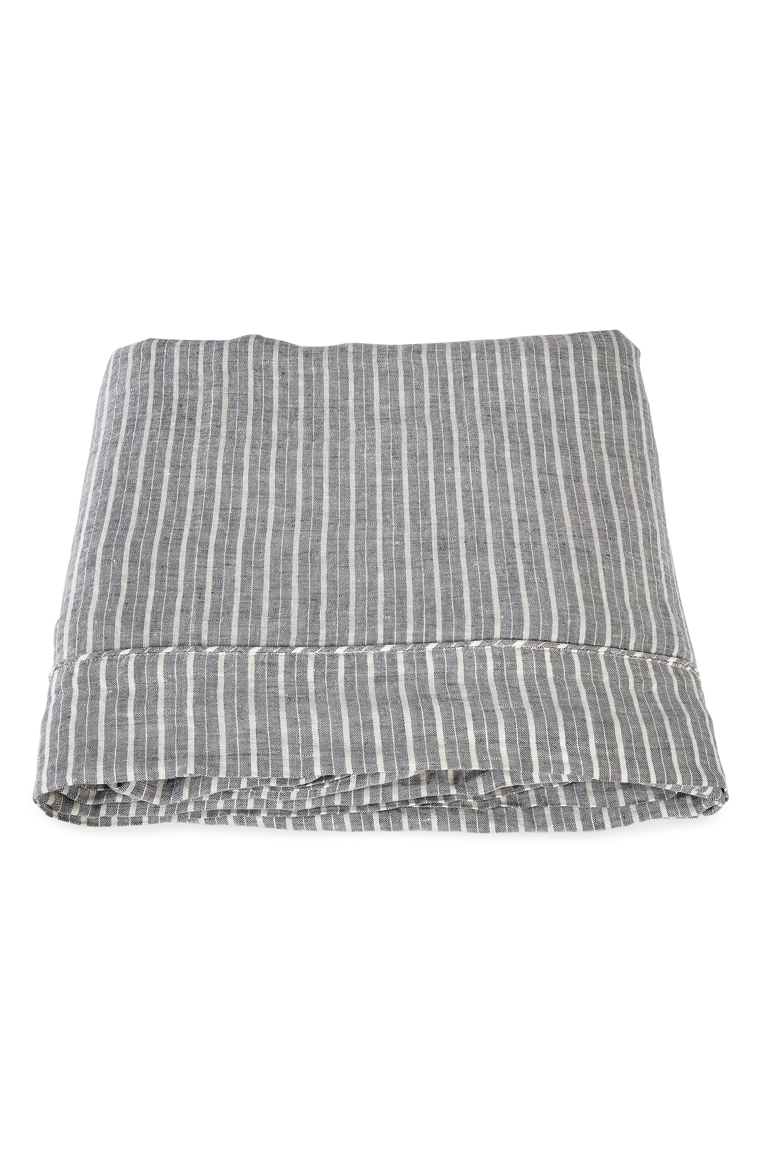 Tristen Linen Flat Sheet, Main, color, ANTHRACITE/ WHITE