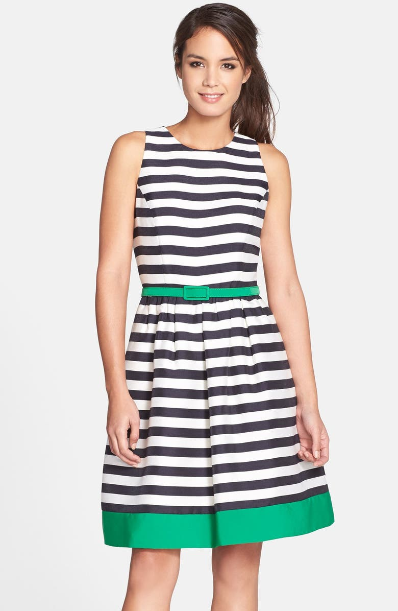 ELIZA J Belted Stripe Fit & Flare Dress, Main, color, 407