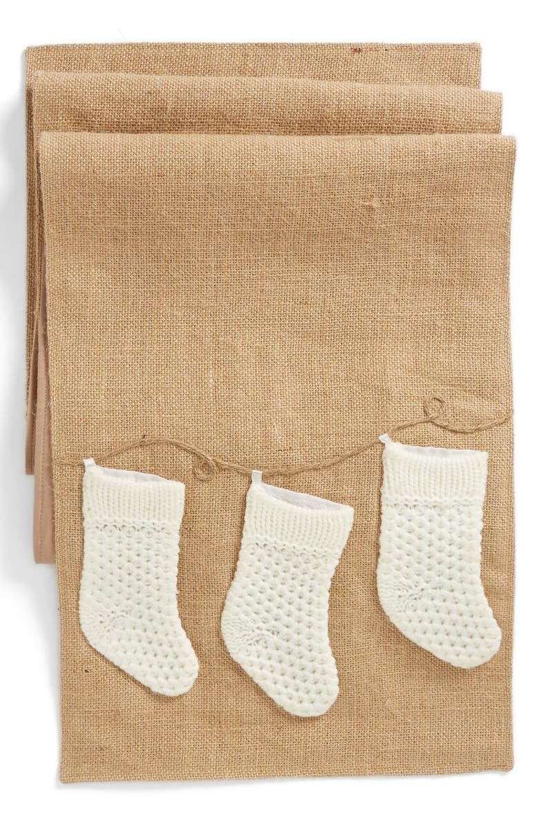 CREATIVE CO-OP Linen Runner with Knit Socks, Main, color, 250