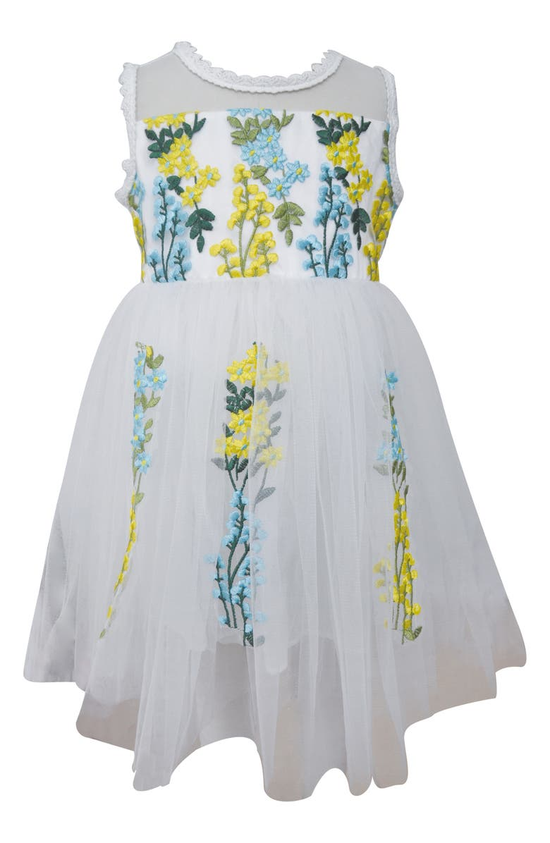 POPATU Embroidered Floral Tulle Dress, Main, color, 100