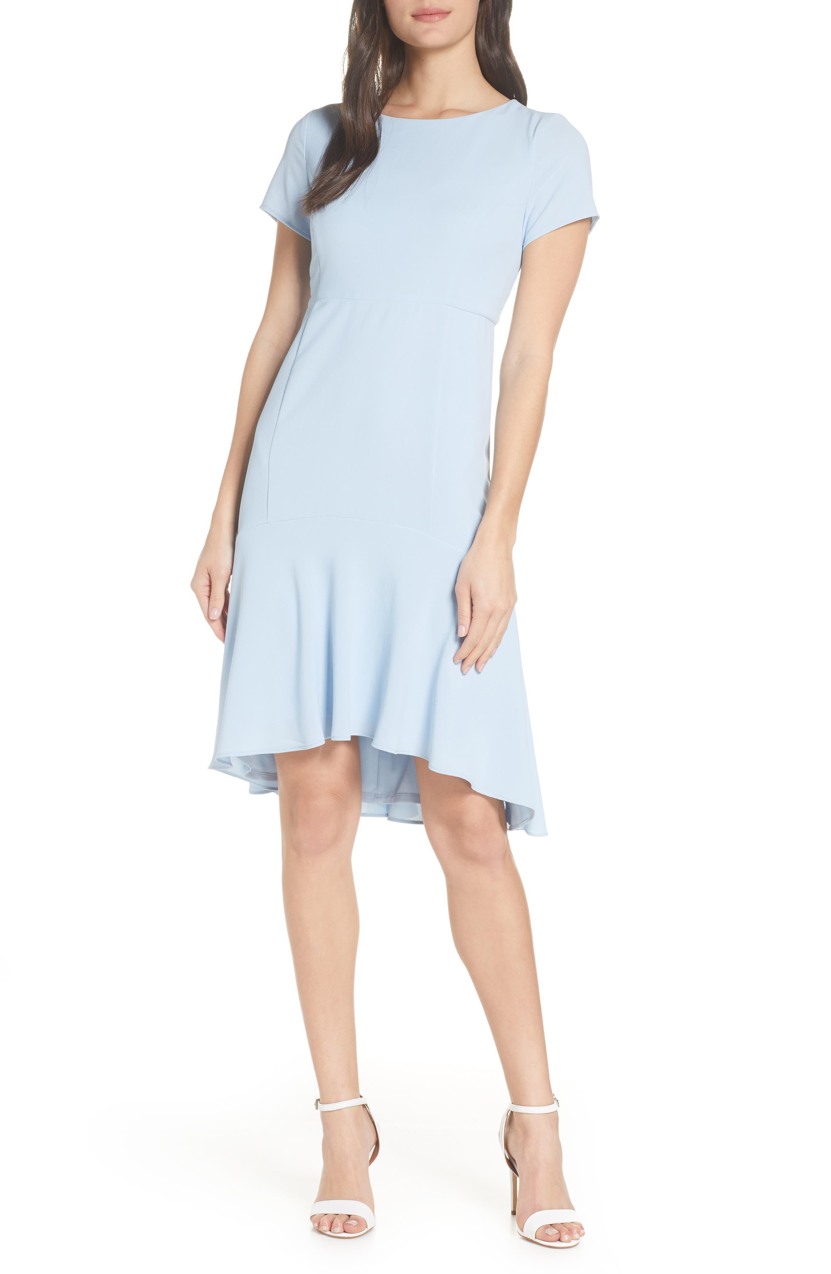 High/Low Sheath Dress, Main, color, PALE BLUE